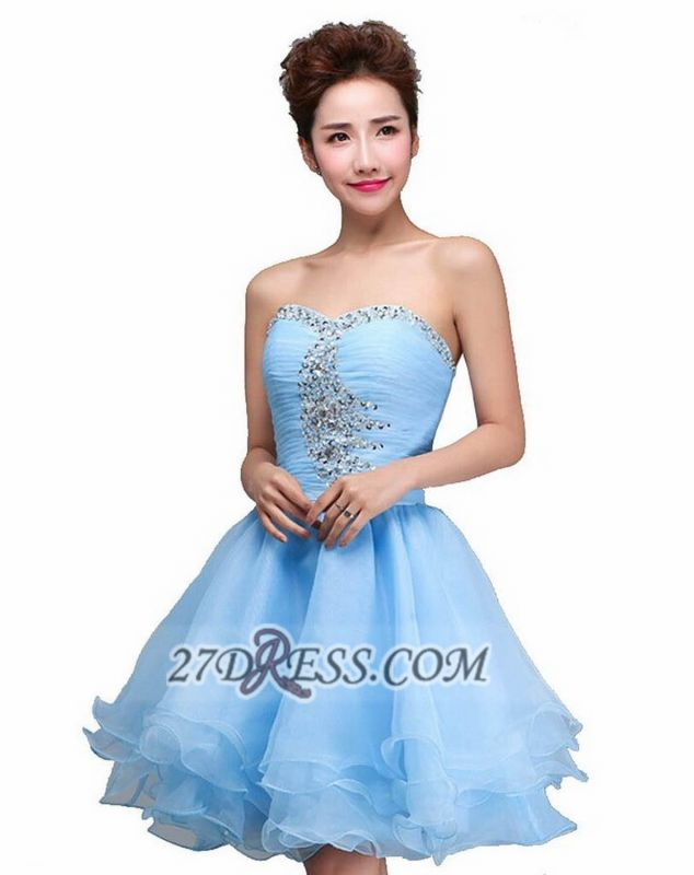 Elegant Semi-sweetheart Sleeveless Short Cocktail Dress Beadings Crystals Lace-up Ruffles Homecoming Gown