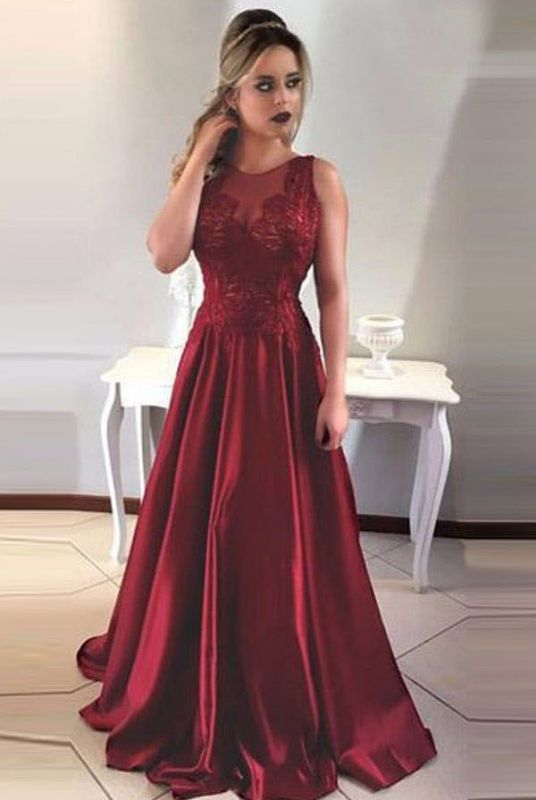 Gorgeous Sleeveless Long 2020 Prom Dress A-Line Lace Party Gowns ba7957