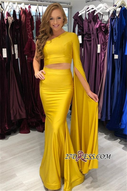 Elegant Pieces One-Shoulder Mermaid Two Prom Dresses