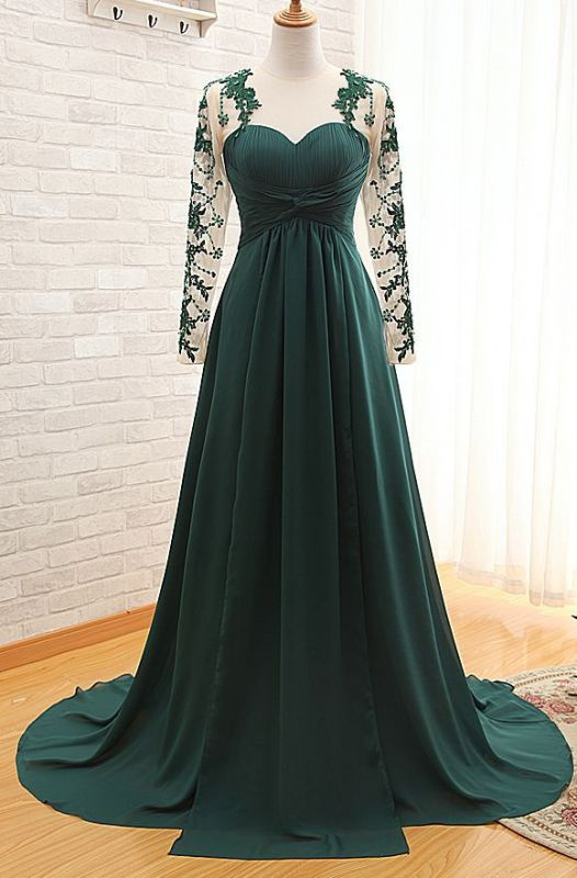 Elegant Long Sleeve Dark Green Evening Dress 2020 Chiffon Long With Appliques