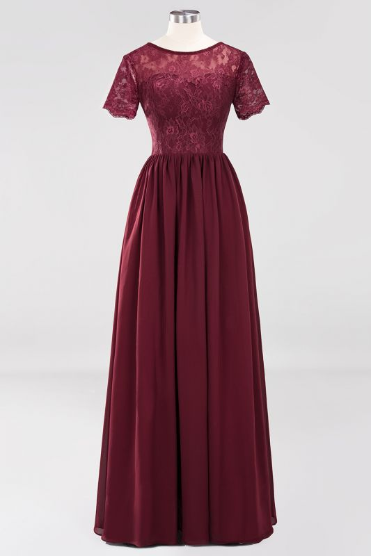 Elegant Crew Short Sleeves Burgundy Prom Dress | 2020 Lace Long Evening Gowns With Zipper