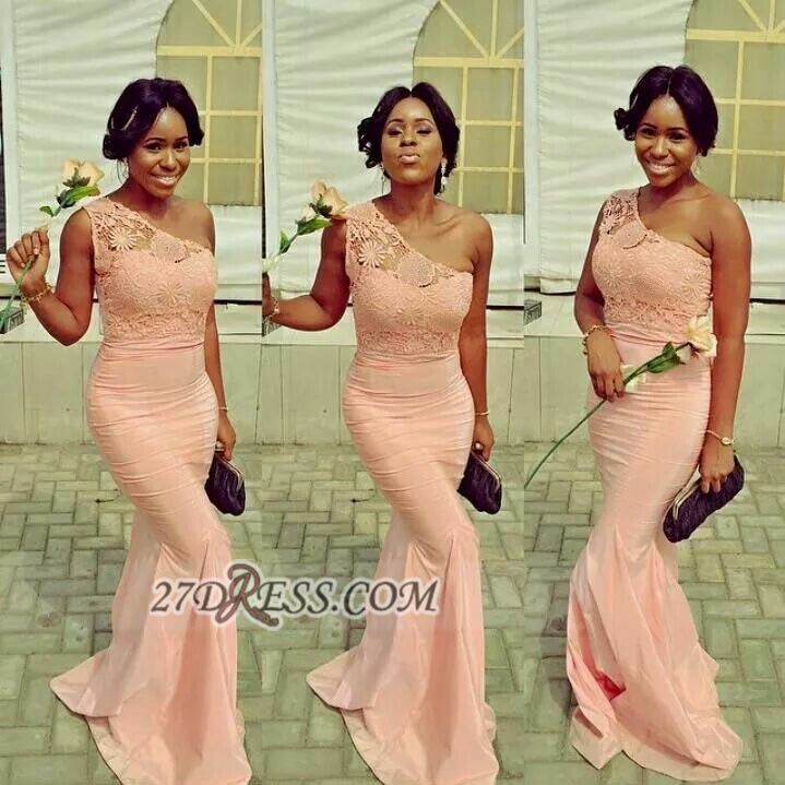 Elegant One-shoulder Sleeveless Mermaid Bridesmaid Dress With Lace Appliques