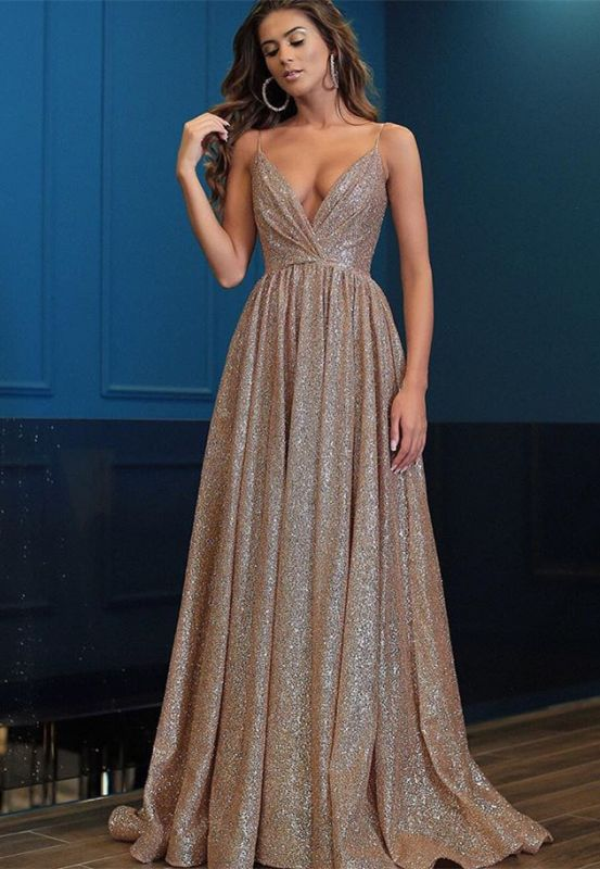 Gorgeous V-Neck Spaghetti-Straps 2020 Prom Dresses | Long Sequins Evening Gown BC0494