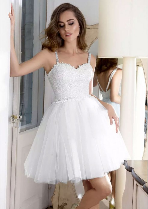 Lovely Sweetheart Straps Short Prom Dress | 2020 Tulle Homecoming Dress With Appliques