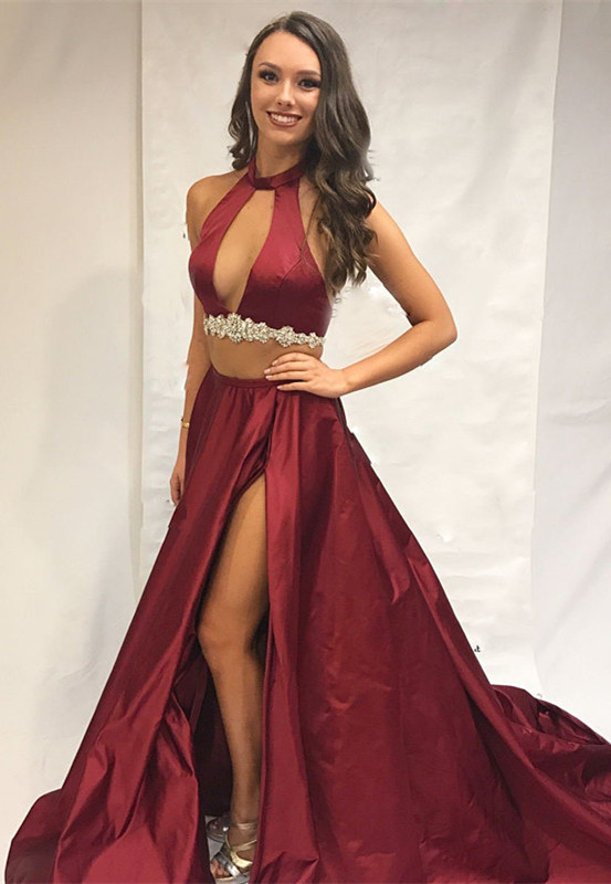 Burgundy two-pieces prom dress, long evening dress with slit
