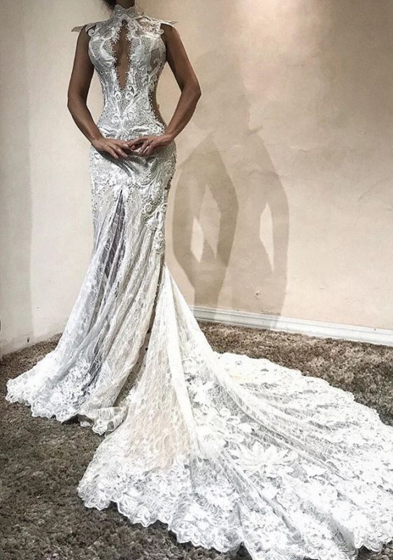 Gorgeous High-Neck Lace Evening Gowns | 2020 Mermaid Prom Dress on Sale
