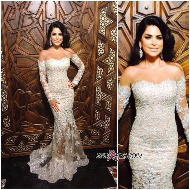 Mermaid Long-Sleeve Appliques Sexy Off-The-Shoulder Lace Charming Illusion Evening Dress JJ0151