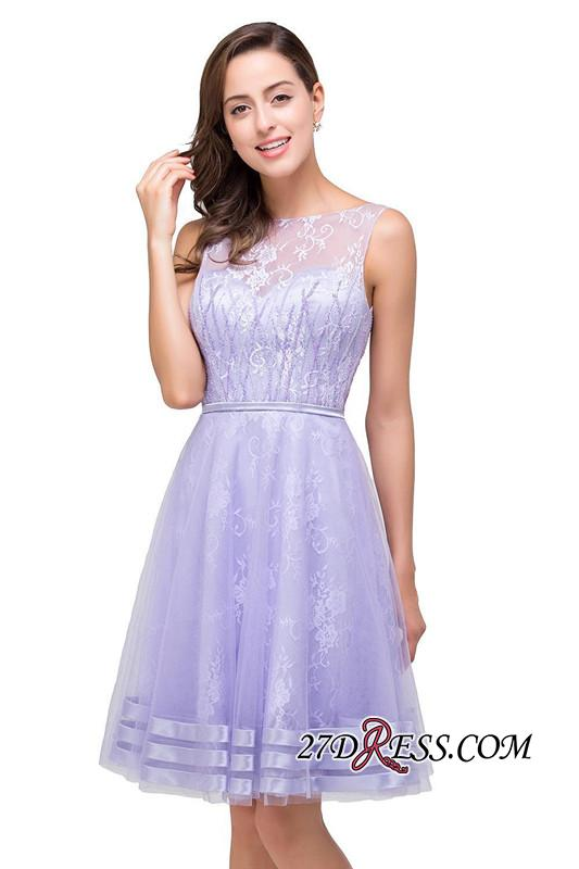2020 Sleeveless Lavender Lace Short A-Line Mini Homecoming Dress