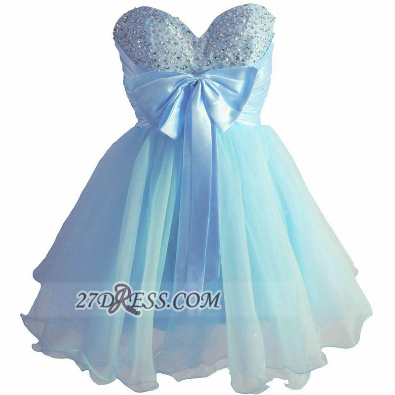 Lovely Sweetheart Sleeveless Short Homecoming Dress Beadings Pearls Bowknot Lace-up Cocktail Gown
