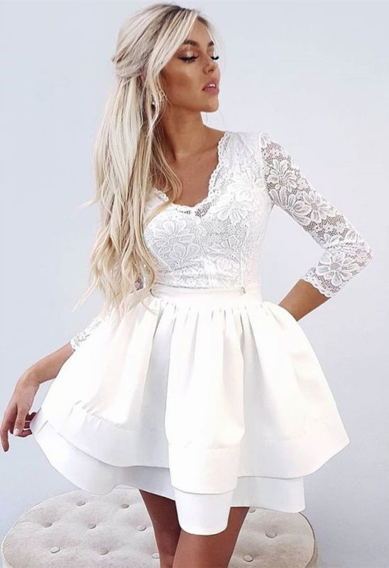 Cute White Long Sleeve Lace Ruffled Homecoming Dress   3/4-length Sleeve Party Gown
