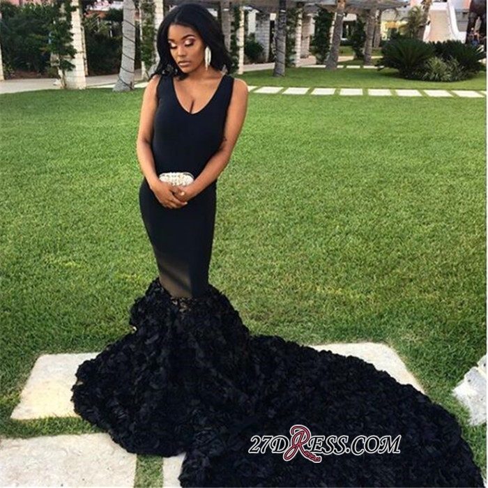 Sexy Black Flowers Mermaid Prom Dresses | V-Neck Sleeveless Long Evening Dresses bk0