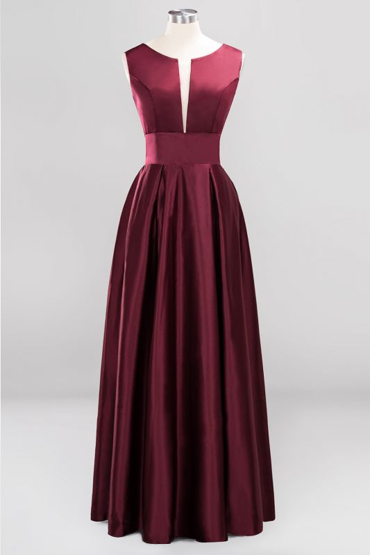 Charming Sleeveless V-Neck Prom Dress | Long Burgundy Evening Gowns With Ribbon And Zipper