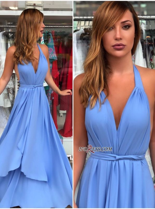 Blue v-neck chiffon prom dress, long evening dresses online
