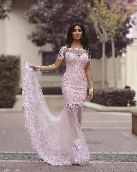 Gorgeous Long Sleeve Lace Appliques 2020 Evening Dress Mermaid Sheer Skirt Prom Gown