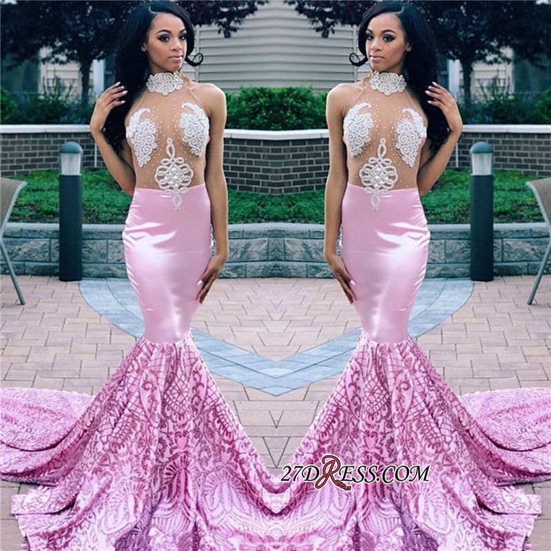 Sexy High Neck Sheer Tulle Applique Prom Dresses | Pink Sleeveless Mermaid Party Dresses bk0