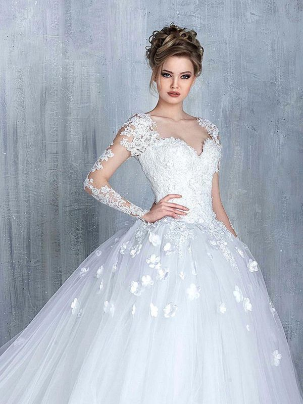 Elegant Long Sleeve White 2020 Wedding Dress tulle Ball Gown Appliques