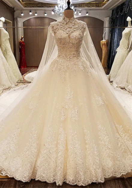 Elegant High-Neck Lace Wedding Dresses | 2020 Princess Bridal Gown