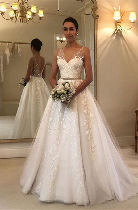 Gorgeous V-Neck Sleeveless 2020 Wedding Dress | Tulle Appliques Bridal Gowns