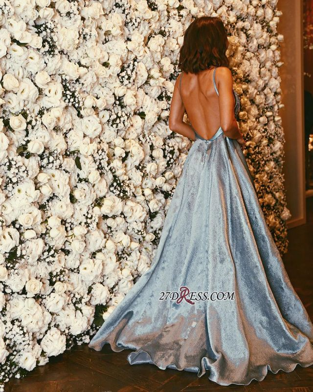 Backless Spaghetti-Strap A-line Gorgeous Sleeveless Crystals Prom Dress sp0234