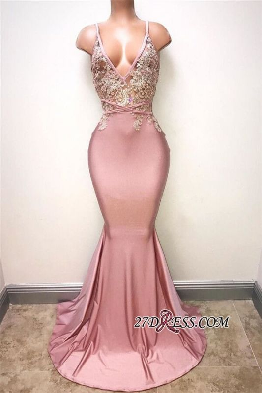 Sexy Sleeveless Lace-Appliques Mermaid Spaghettis-Strap Evening Gowns BA7166