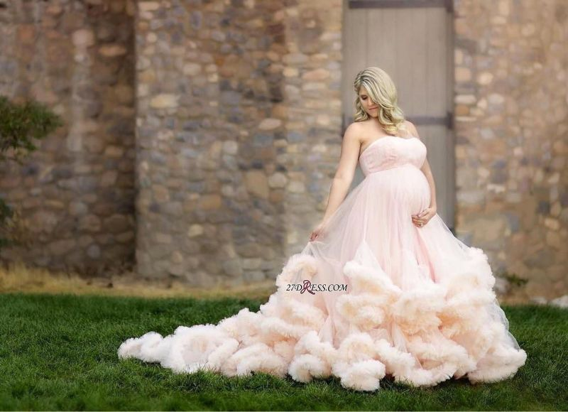 2020 Pink Maternity Long Cloud Strapless Pregnant Wedding Dresses