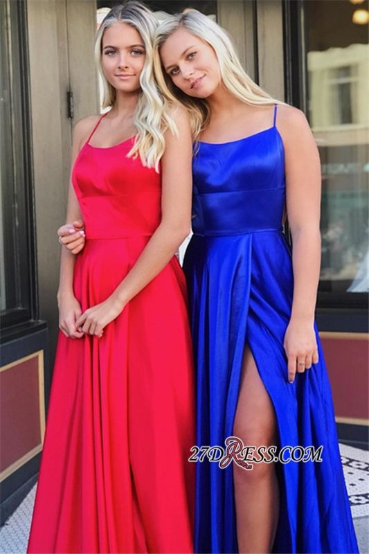 Fascinating A-line Spaghetti-Staps Split Scoop Prom Dresses