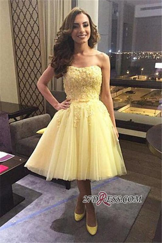 Yellow Puffy Knee-length Tulle Lace Cheap Strapless Appliques Homecoming Dress