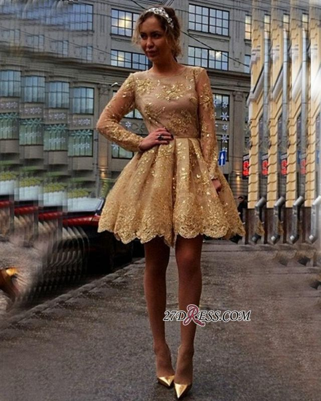 Sheer Gold Gorgeous Long-Sleeves Appliques Short Homecoming Dresses