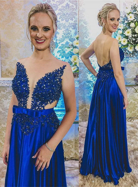 Newest Royal Blue Lace Appliques Prom Dress | Backless Prom Dress