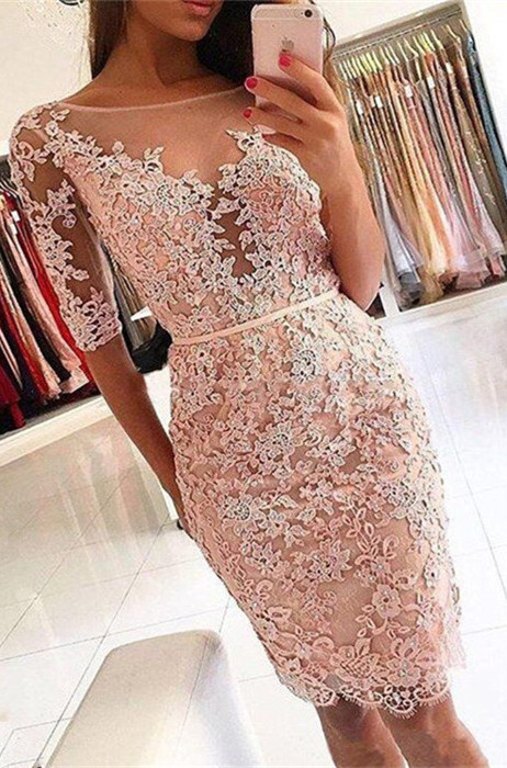 Elegant Half-Sleeve 2020 Homecoming Dress | Short Party Dress With Lace Appliques