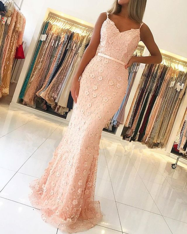 Gorgeous Spaghetti Strap Beaded Evening Gowns | Lace Appliques Mermaid Prom Dress With Ribbon