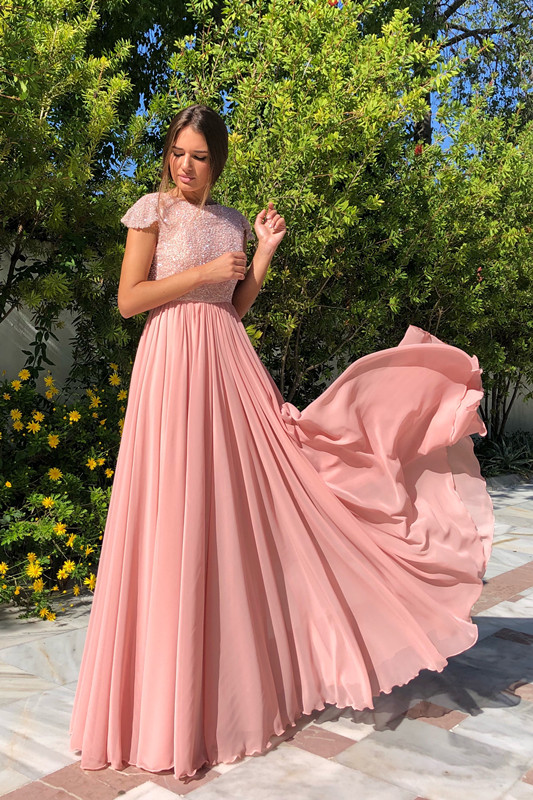 2020 Elegant Crew Cap Sleeves A-Line 2020 Evening Dress | Tulle Sequins Front Split Long Prom Gown