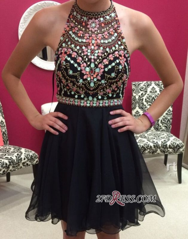 Short Newest Sleeveless Colorful-Crystals Halter Homecoming Dress