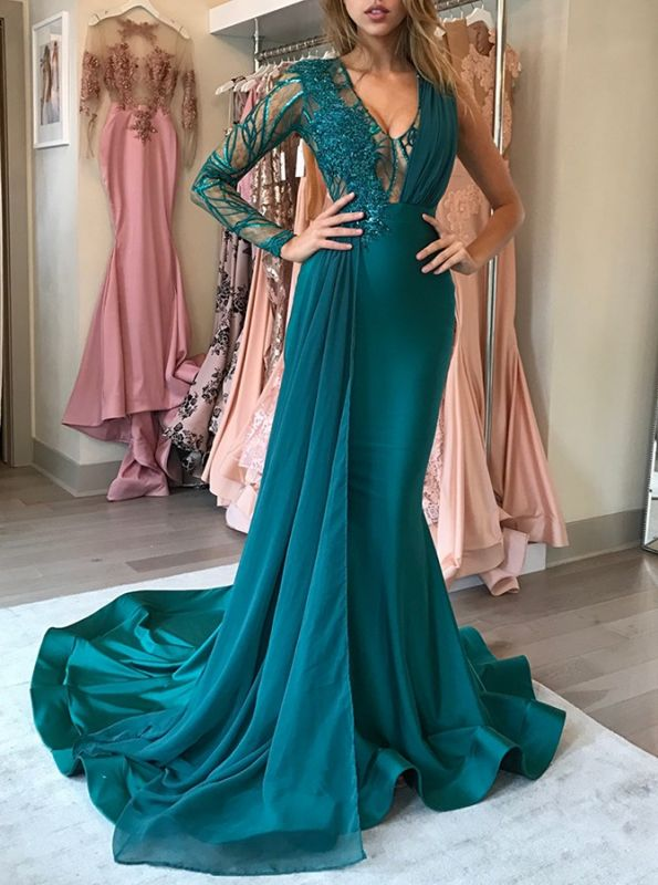 Green Long-Sleeve 2020 Prom Dress | Chiffon Long Evening Gowns With Appliques