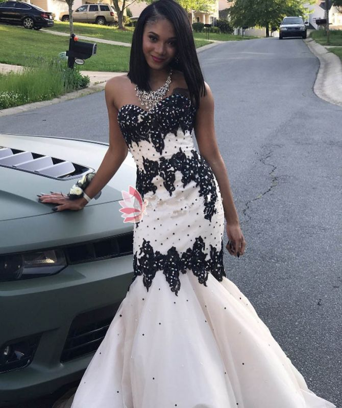 Black Lace 2020 Prom Dress | Mermaid Evening Gowns With Beadings