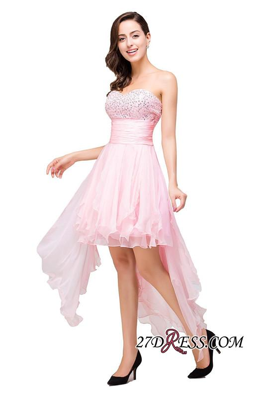 2020 Chiffon A-Line Ruffles Crystal Sweetheart Mini Homecoming Dress
