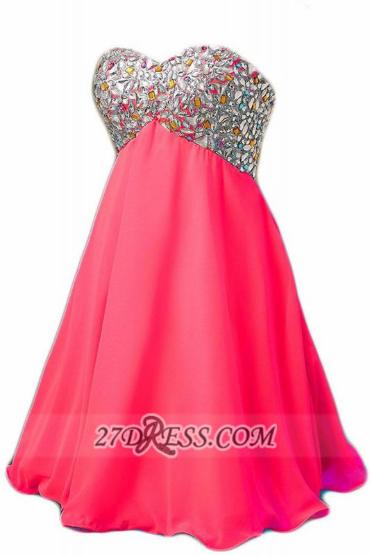 Sexy Sweetheart Sleeveless Short Homecoming Dress Colorful Beadings Lace-up Chiffon Cocktail Gown