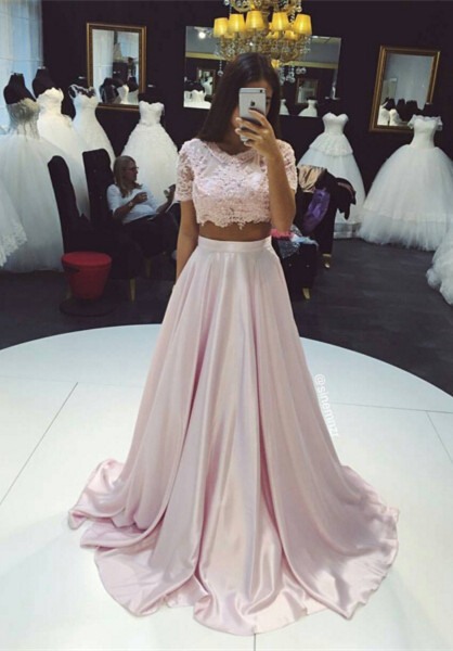 Beautiful Two Pieces Short Sleeve Prom Dresses 2020 Lace A-Line Party Gown