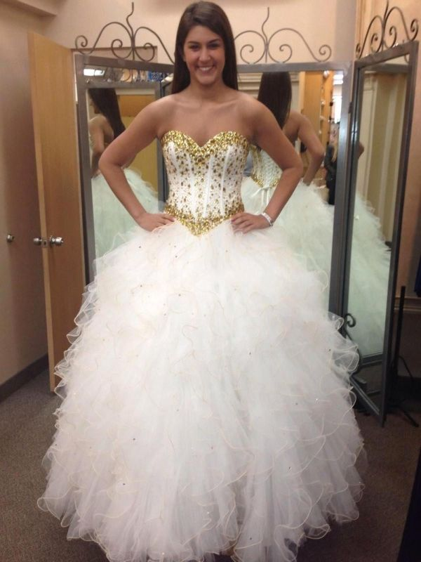 Fabulous Sweetheart Golden Crystal Wedding Dress Tulle 2020 Princess Bridal Gowns