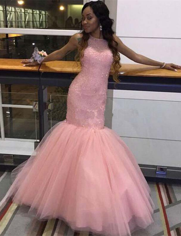 Fabulous Sleeveless Pink Prom Dress 2020 Mermaid Tulle Floor Length BK0