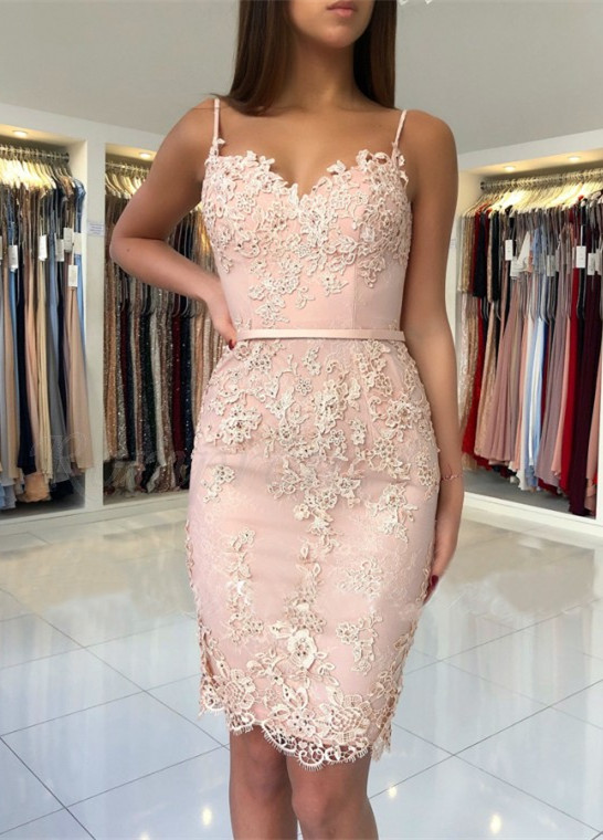 Spaghetti-Straps Sweetheart Short Prom Dress | 2020 Mermaid Lace Appliques Homecoming Dress BA9829