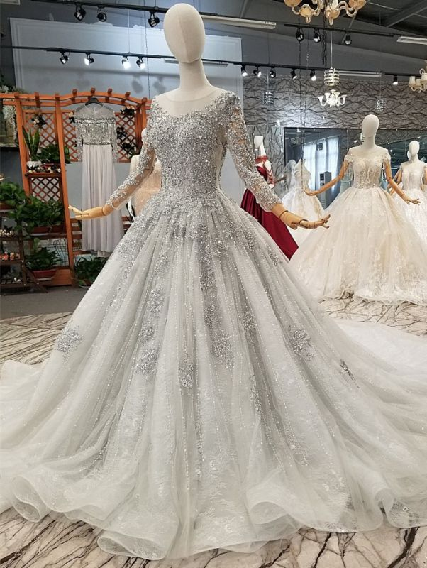 Stunning Long Sleeve Beadings Wedding Dresses | 2020 Lace-up Sequins Bridal Gowns