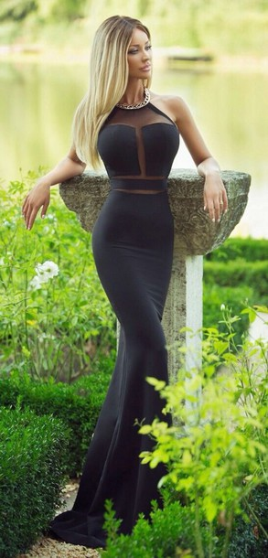 Modern Halter Mermaid Black Prom Dress Sleeveless With Beadings