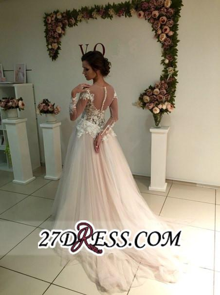 Delicate Lace A-line Appliques Tulle Sweep-Train Long-Sleeve Bridal Dress