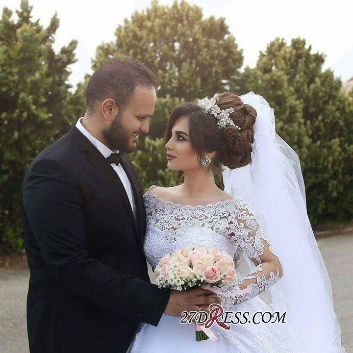 Tulle Lace Jeewl Long-Sleeves Ball-Gown Arabic White Wedding Dress