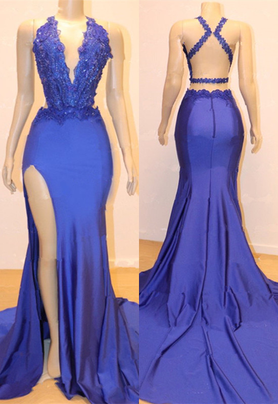 Gorgeous V-Neck Blue Prom Dresses | 2020 Mermaid Slit Long Evening Gowns