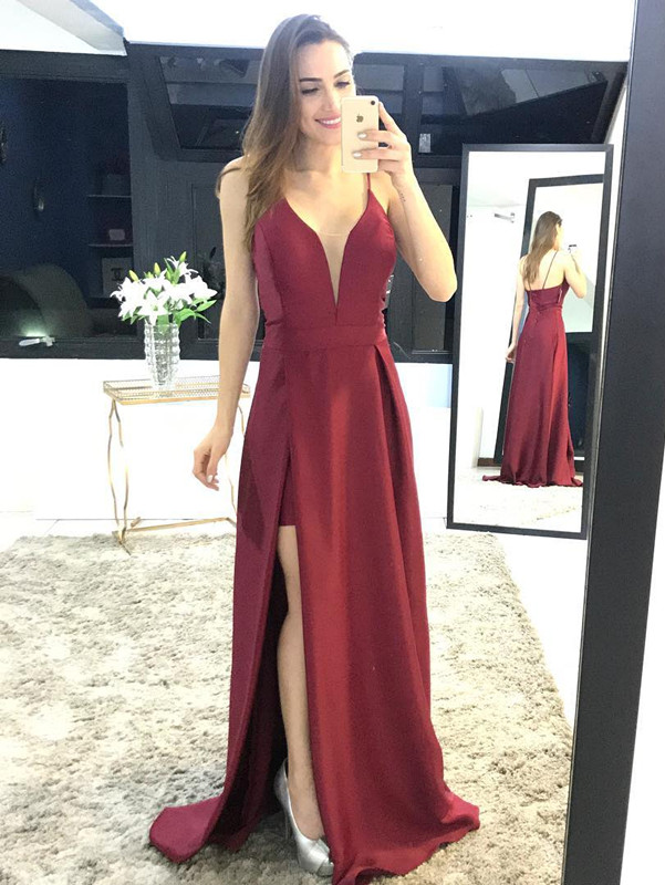 Elegant Spaghetti Straps Split 2020 Prom Dress Long Party Gown On Sale