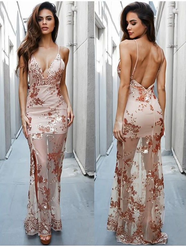 2020 Newest Lace Sequined Long Formal Dress | V-neck Prom Dress with Split