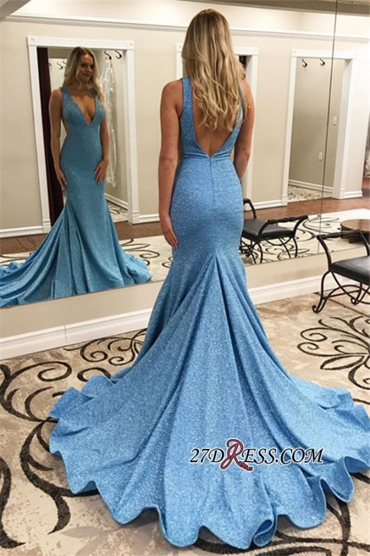 V-neck Mermaid Backless Sweep-Train Sexy Evening Dresses