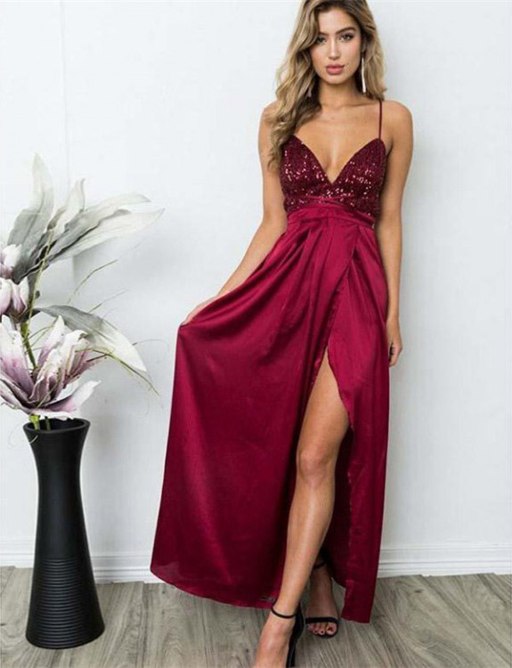 Delicate Sequined Spaghetti Strap Formal Dress | Front Split Long Party Gown